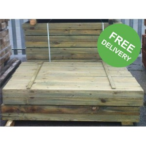 New Green Railway Sleepers -  1200 x 200 x 100mm