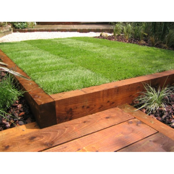 New brown railway sleepers 2400 x 200 x 100 for Garden designs with railway sleepers